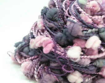 Thick and Thin Yarn, Handspun Yarn, Art Yarn, Artisan Yarn, Coilspun, Purple Yarn, Gray Yarn, Merino Yarn, Soft Yarn, Gift for Her - BAUBLES