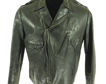 Vintage 50s Police Leather Jacket Mens 46 Motorcycle Biker Black [H27V_3-14_Leather]