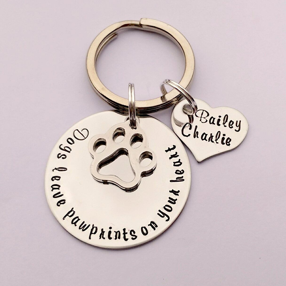 Personalised dog keyring - personalised dog keychain - dogs leave pawprints on your heart - pet loss memorial - gift present for dog lover