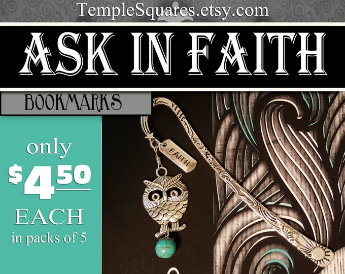 2017 YW Ask of God Ask in Faith Bookmark Silver Charms Turquoise James 1:5-6 mutual theme young women gift birthday christmas new beginnings