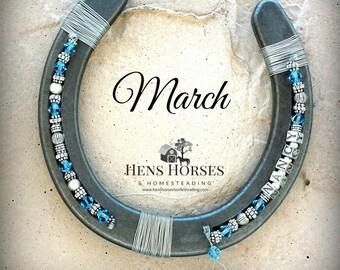Horseshoe | Horse Décor | Horseshoe Décor | Personalized Horseshoe | March Aquamarine Birthstone Horseshoe | Lucky Horseshoe | One Name