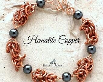 Magnetic Hematite Copper Bracelet | Black Magnetic Bracelet | Copper Bracelet | Arthritis Healing Bracelet | Arthritis Jewelry | Hematite