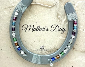 Mother's Day Horseshoe | Mom | Mother's Day Mom Multi Birthstone Horseshoe | Mother's Day Gift | Children's Birthstone | Horse Décor