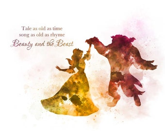 Belle, Beauty and the Beast, Ballroom Dance, Quote 'Tale as old as time' ART PRINT illustration, Disney, Princess, Home Decor, Nursery