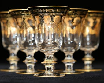 Gold Etched Wine Glasses, Medici Gold by Arte Italica Water Glasses, Gold Encrusted Water Glasses, Gold Etched Water Goblets, Gold Wine Stem