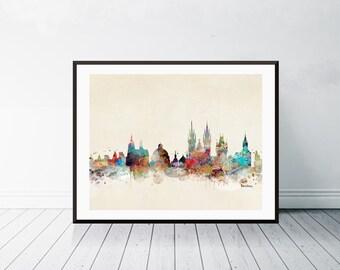 Barcelona city skyline . barcelona spain.barcelona cityscape. colorful watercolor skyline.Giclee art print.color your world with bri.