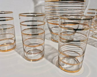 SOLD MCM Gold Banded Clear Glass Pitcher Set with 6 Glasses by Federal Glass Company