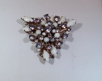 White Brooch with Light Purple  Stones