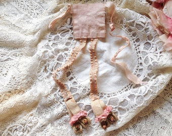 Antique doll garters mini lingerie french doll clothes garter belt clips pink ribbons wood buttons doll undergarment
