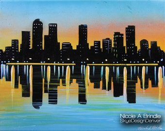 "Broncos Sunset - Denver Skyline - Fantasy Art 11"" x 14"" Mixed Media on Canvas"