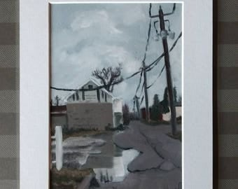 "Fine Art Print ""Rainy Day Alley"" 7x5 matted to 9x7"