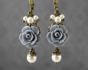 Dusty Blue Resin Rose Earrings - Swarovski Pearl Ivory and Gray Blue Victorian Jewelry Shabby Rose Jewelry Neo Victorian Flower Earrings