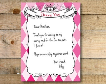 Printed Alice in Wonderland Thank You Cards - 10 pack - Ready to Ship!