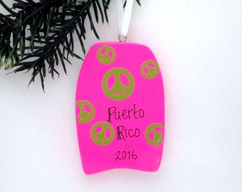 FREE SHIPPING Boogie Board Personalized Christmas Ornament / Bright Pink / Beach Ornament / Vacation Ornament  / Summer Vacation