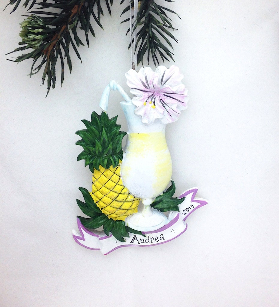 Daiquiri Personalized Christmas Ornament  Tropical Drink Ornament