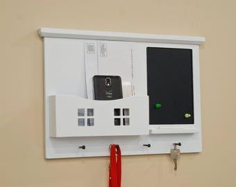 Wall Mail Key Organizer - Magnetic - Mail Holder - Key Rack - Wall Organizer - Dry Erase - Chalkboard - Message Center - Mail Organizer