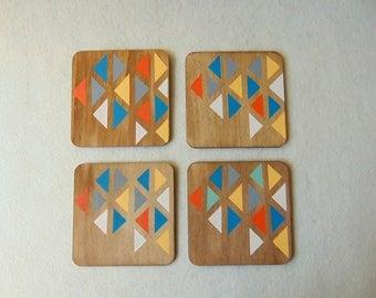 Mid century modern Coasters, Wood Coasters, Drink Coasters, Geometric Coasters, Handpainted Wooden Coasters