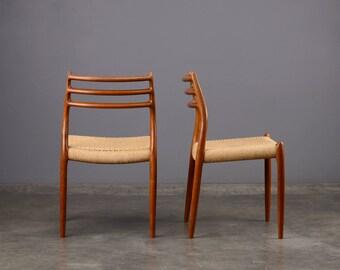 Pair of Møller Model 78 Dining Chairs Teak Mid Century Moller
