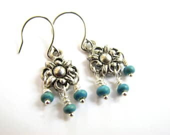 Small chandelier earrings, Silver and turquoise jewelry, Small dangle earrings