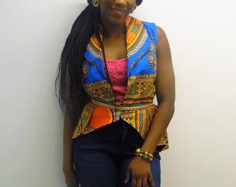 Dashiki peplum blouse