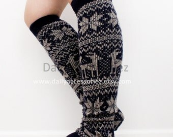 Christmas womens leg warmers, reindeer, snowflake, knit leg warmers, adult, boot socks women, for girls, for women, Christmas Gifts, for her