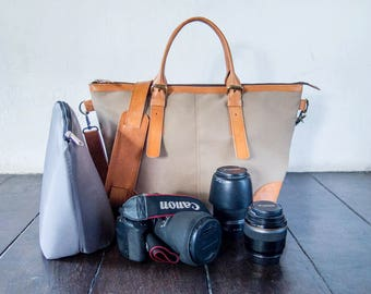 Dslr Camera Bag with Insert with shoulder strap - genuine Leather and canvas shoulder bag - tote bag - Leather with canvas - Tanned