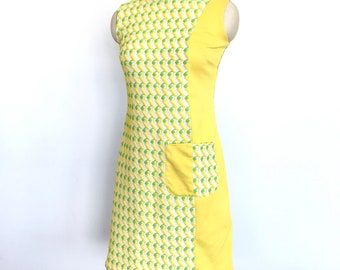 1960s yellow and green gogo mini dress