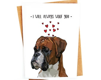 Funny Boxer Dog Card | Love Couples Birthday Card | Anniversary Card | Valentines Day Card | Humorous Handmade | Animal Card | Dog Pun