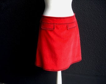 Corduroy skirt COWGIRL red with black embroidery ladies skirt skirt corduroy women stitchery
