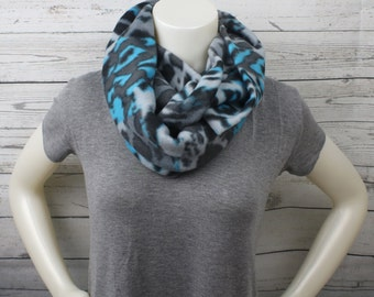 Gray And Blue Leopard Fleece Infinity Scarf