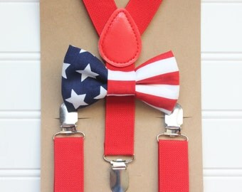 Bowtie and Suspenders Set/American Flag Bowtie/4th of July/Red Suspenders/Baby and Toddler Bowties/Birthday and Wedding Sets