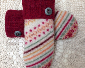 Upcycled-recycled wool mittens-colorfully patterned felted wool mittens-made from sweaters