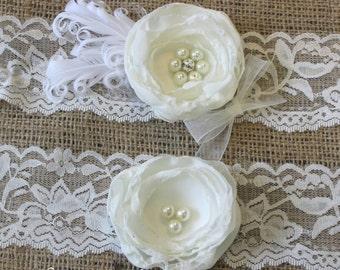 Wedding Garter, Fall Garter, garter, Ivory Garter, White garter, garter set, accessories, bridal