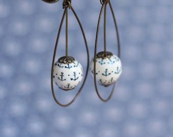 Earrings anchor navy blue