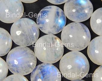 10 Pieces Rainbow Moonstone 15X15 MM Round Flat Back Gemstone Cabochon