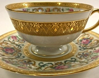 Lovely Vintage Charles Ahrenfeldt Limoges Hand-Painted Teacup and Saucer C Reizenstein Pittsburgh-Allegheny New York