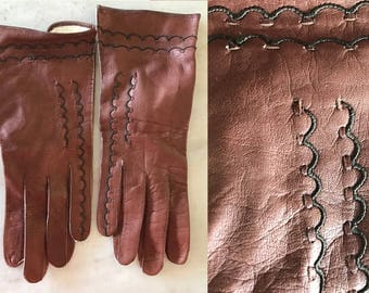 vintage leather gloves // brown leather gloves // vintage gloves