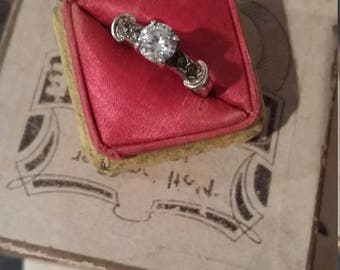 Vintage Sterling Engagement Style Ring