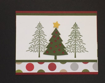Peaceful Pines Hand Stamped Christmas Card
