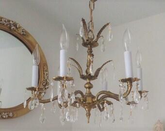 Ornate 6-Arm Vintage Brass Chandelier with Prisms- Petite Size