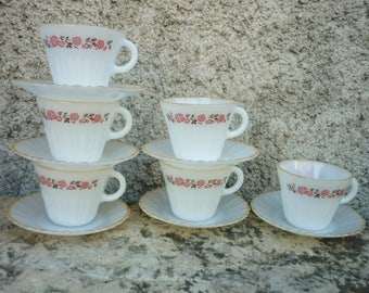 six white milk glass Termocrisa coffee/tea cups and saucers