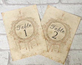 Wedding Table Number Card Name Cards centrepiece antique vintage style shabby chic design