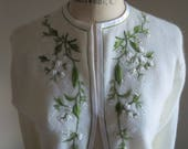 Vintage Ivory Embroidered Lined Cardigan/Cecile of Bermuda