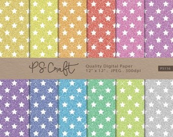 Glitter Star Digital Papers, SEAMLESS Glitter Stars Paper, Sparkle Digital Paper, Shining Glitter Star, Instant Download