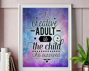 Inspirational creative colorful quote print