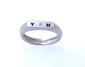 Diamond personalize ring.Silver name ring. Personalized name ring. Word ring. Initials silver ring. Sterling silver ring. Unisex ring.
