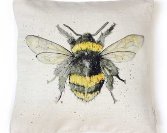 Bumble Bee Cushion Cover - Bee, Linen, Country Kitchen, Made in England, Bee Gift, Housewarming Gift, Birthday Gift