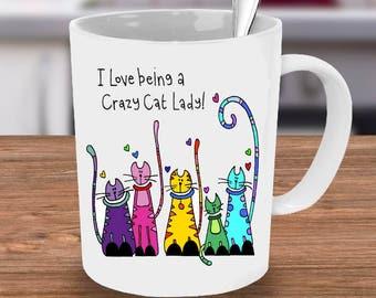 Blackshoe®, Crazy Cat Lady Mug, cat mug, Cat gift, custom Mug, Cat lovers, Crazy Cat lady coffee cup, funny Mug, Funny Cat Gift, Crazy Cat