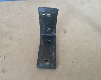 "Bracket hand hammered in wrought iron 3/8"" x 2"""