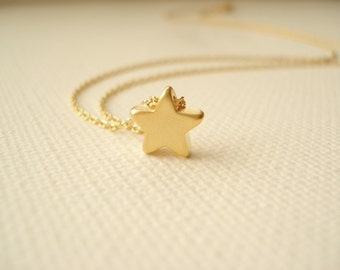 Tiny gold star necklace..simple handmade jewelry, everyday, bridal jewelry, wedding, bridesmaid gift, flowergirl, best friends gift